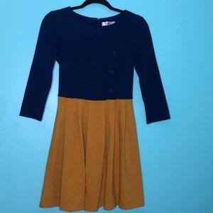 Sunny Girl Navy/Mustard Colorblock Dress Sz S